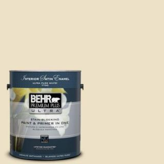 BEHR Premium Plus Ultra 1 gal. #370E 2 Cream Silk Satin Enamel Interior Paint 775001