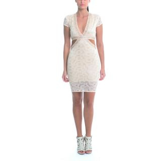 Sentimental NY Womens Champagne Lace V Neck Cutout Knee Dress