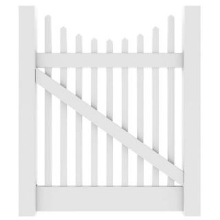Veranda 4 ft. W x 4 ft. HYukon Scallop White Walk Gate Kit 73011757