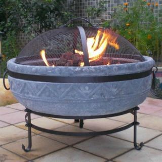 Blue Rooster GS809 Azteca Gas Fire Pit in Grey