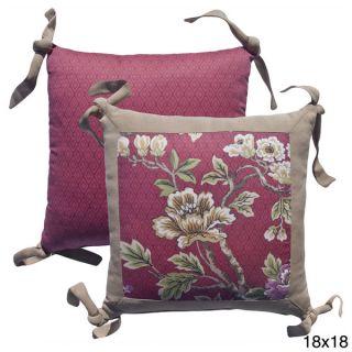 Rose Tree Crimson Garden Embroidered Flower Decorative Pillow
