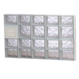 Clearly Secure 38.75 in. x 25 in. x 3.125 in. Wave Pattern Glass Block Window with Dryer Vent 4026SDCDV