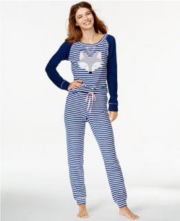 Jenni by Jennifer Moore Fox Fleece Top and Striped Pajama Pants   Bras