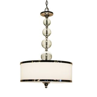 Z Lite 18 in W Cosmopolitan Chrome Crystal Accent Pendant Light with Fabric Shade